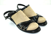 SAS Women's Black Leather Comfort Slingback Strappy Wedge Sandals Size 8.5 Wide
