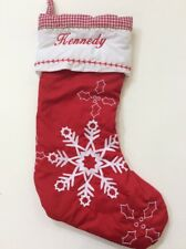 Pottery Barn Kids Red Gingham Quilted Snowflake Stocking Name KENNEDY New