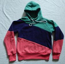Blue Teal Pink Striped Hooded Sweatshirt - Small Mens Hoodie
