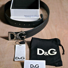 Dolce Gabbana Logo  men leather black belt