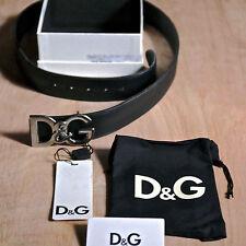Dolce Gabbana Logo  men leather black belt