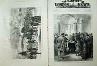 Old Antique Print 1882 Lord Cavendish Chapel Chatsworth Funeral Edensor 19th