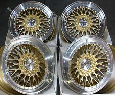"16"" Gold Vintage Alloy Wheels Fits 5x100 VW Bora Corrado Golf Mk4 Beetle Polo"
