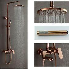 "Rose Gold Polish 8"" Brass Rain Shower Head Exposed Shower Faucet Set Mixer Tap"