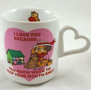 "VINTAGE 1978 ENESCO GARFIELD "" I LOVE YOU BECAUSE"" MUG"
