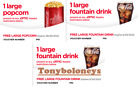 AMC Theaters (1) LARGE POPCORN and (2)  LARGE DRINK Expires 06/30/2022 -SAME DAY