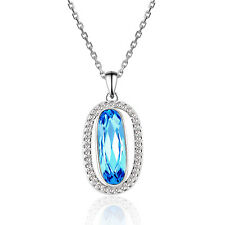 Women Oval Aqumarine Crystal White Gold Plated Pendant Free Necklace Gift