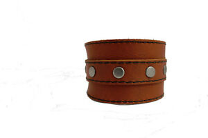 BROWN LEATHER WRIST BAND,BRACELET,WRIST CUFF 2 INCH WIDE