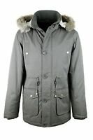 Mens Khakhi Green Hooded Cotton Parka Jacket Coat Big Size Plus Size S-XXL