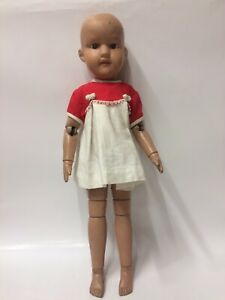 """19"""" 1911 Pat. Schoenhut Wood Miss Dolly Sprong Jointed Doll"""