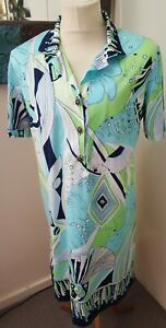 VINTAGE VERMA ITALY BLUE/GREEN/WHITE  PATTERNED SHORT SLEEVED DRESS UK L