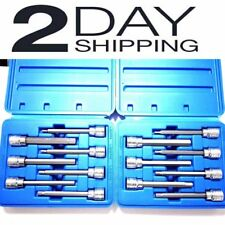 EXTRA LONG HEX BIT SOCKET ALLEN WRENCH SET SAE AND METRIC COMBO TOOL