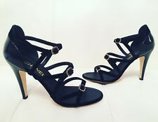 $1K CHANEL 17C BLACK VELVET AND PATENT LEATHER STRAPPY BUCKLE SANDALS PUPMS 38
