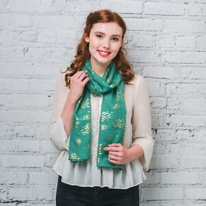 BNWT Green & Gold Foil Print Fish Shoal Soft Boho Scarf Hijab Headscarf Sarong