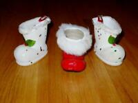 (3) Vintage SANTA BOOT Candy Holders - ESTATE Find - JAPAN Flocked & Paper Mache