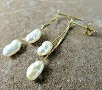 14K Yellow Gold White Freshwater Pearl Double Chain Dangle Post Earrings #835