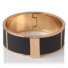 L.K. Bennett Joanna Leather Thick Metal Cuff Gold Black NWT $150