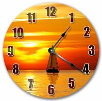 """10.5"""" SAILBOAT IN SUNSET CLOCK - Large 10.5"""" Wall Clock Home Décor Clock - 3018"""