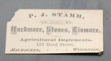 Civil War era 1865 Milwaukee WI Trade Card P. J. Stamm Hardware
