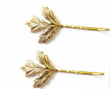 2 x Gold Thistle Leaf Hair Clips Bobby Pins Bridal Scottish Wedding Slides W05