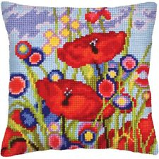 "Chunky Cross Stitch Cushion Front Kit  Collection D'Art ""Red Poppies"" 40x40cm"