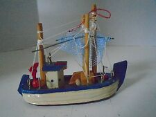 Wooden Shrimp Boat Lobster Christmas Tree Ornament Nautical Nets Working