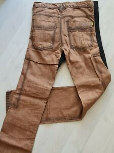 W32 L34 nussbraun WAX Aramid Motorradjeans Hose Slim Fit 5 Pocket Motorrad Jeans