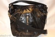 NEW! NWT! L.A.M.B. Gwen Stefani Black Leather Brunswick Curve Hobo $298
