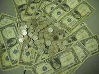 10 Mixed 90% Silver Dimes 1940's 50's 60's & 1 ONE $1.00 Silver Certificate Note