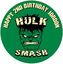 """Hulk Smash Personalizado Glaseado Hoja Cake Topper 7.5"""" Redondo"""