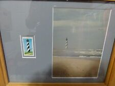 Cape Hatteras Lighthouse 25 cent stamp and photograph framed and matted