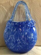Murano Blue Speckled Art Glass Purse Flower Embellishment Swirled Handle