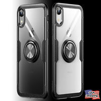 Magnetic Finger Ring Clear Back Shockproof TPU Case Cover For iPhone XS Max XR X