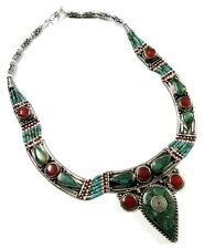 Tibetan Gypsy Turquoise, Lapis & Coral Silver Plated Vintage Necklace