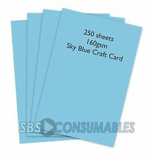 250 SHEETS A4 160gsm CLAIREFONTAINE COLOURED CRAFT CARD - SKY BLUE - 1106