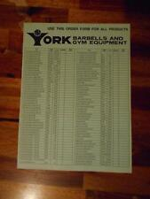 YORK BARBELL COMPANY Gym Equipment products ORIGINAL Green Order Form - 4 pages