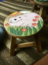 Childs Wooden Stool Chair. Solid Hardwood Stool , Hippo Top