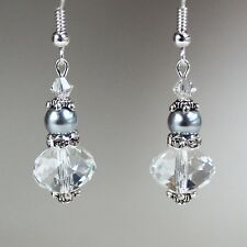 Light grey pearls crystal vintage silver drop dangle wedding bridesmaid earrings