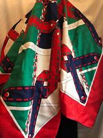 Gucci Silk Scarf Twill Red/blue/Green Cable GG Web Square Scarf 90x90 cm, Italy
