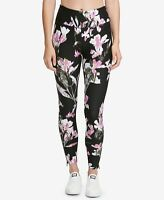 DKNY Womens Sport Twilight Iris Printed High-Waist Leggings Black