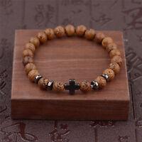 Hot Hematite Cross Wooden Bracelets Elastic Bracelet Beads Wooden For Men Women