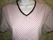 Pink brown trim polka dots v-neck scrubs uniform top dental medical nurse vet S