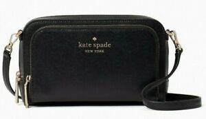 Kate Spade Staci Dual ZipAround Crossbody Black Saffiano WLR00410 NWT $239 MSRP