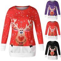 Fashion Women Casual Long Sleeve Christmas Elk Print Shirt Pullover Top Blouse K