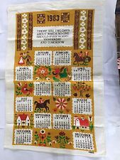 VINTAGE 1983 B & D DUTCH COUNTRY STYLE OLD SAYING PRINTED KITCHEN DISH TOWEL