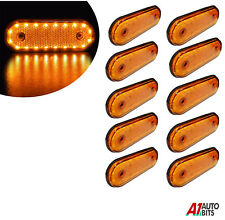 24v Led Oval Clearance Amber Side Marker Lights Position Truck Trailer Lorry X10