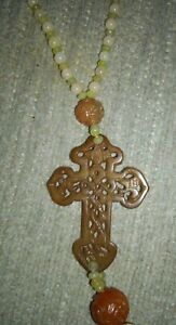 Bakelite/Catalin Carved Cross And Beads With Tassel. Tested. Butterscotch,Green