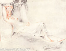 Reclining NUDE WOMAN on Victorian Settee Couch VINTAGE 1927 MATTED Print Picture