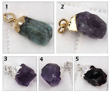 Natural Rough Amethyst Emerald Garnet Silver Gold Plated Gemstone Charms Pendant