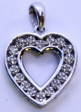 10K Solid White Gold Round Diamond Open Work Heart Outline I LOVE YOU Pendant